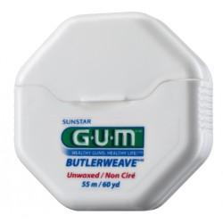Зубная нить GUM BUTLERWEAVE  UNWAXED, невощенная, 55м